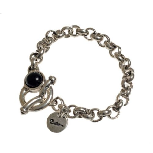Ciclon Simple Chain Bracelet with Black Resin Feature